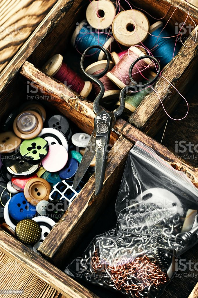 Outdated sewing kit stock photo