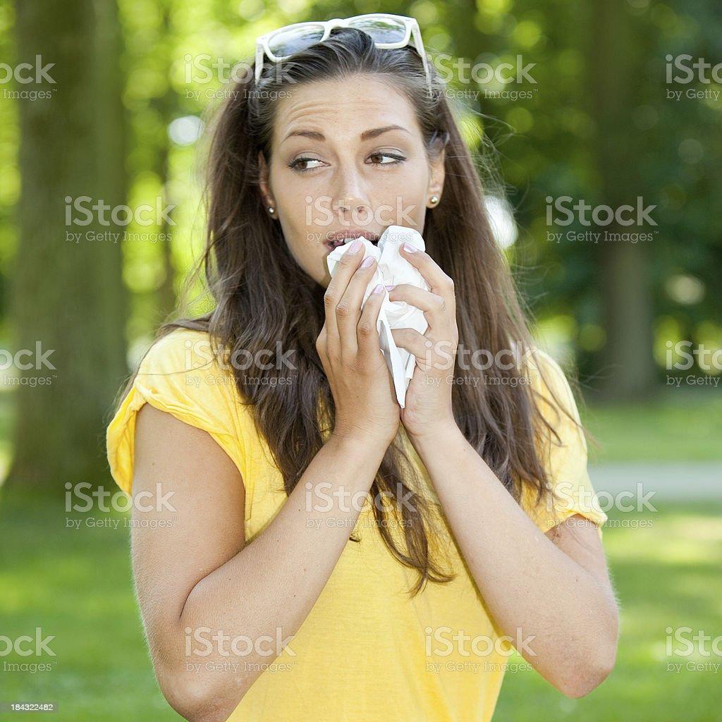 Outdoor allergy sneeze royalty-free stock photo