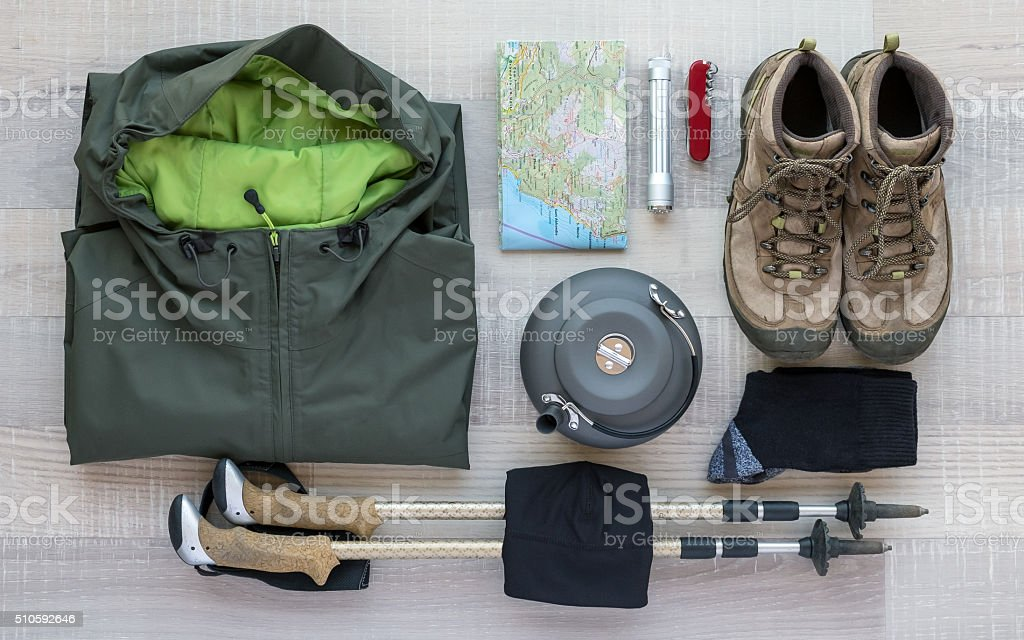 Outdoor and Hiking Equipment stock photo