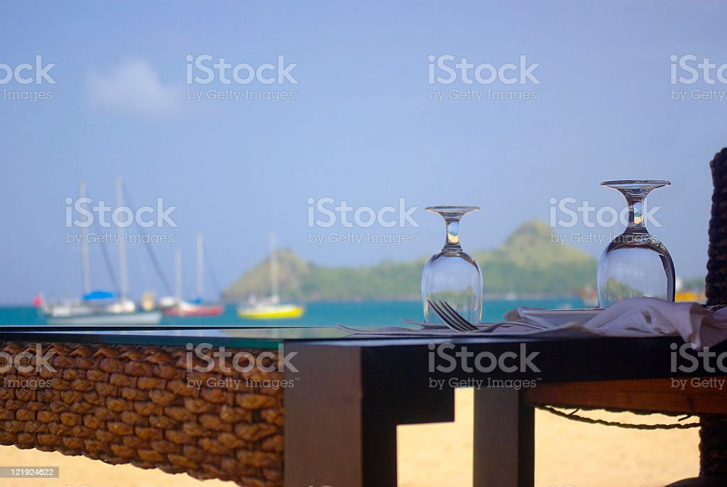 outdoor and tropical beach side dining restaurant stock photo