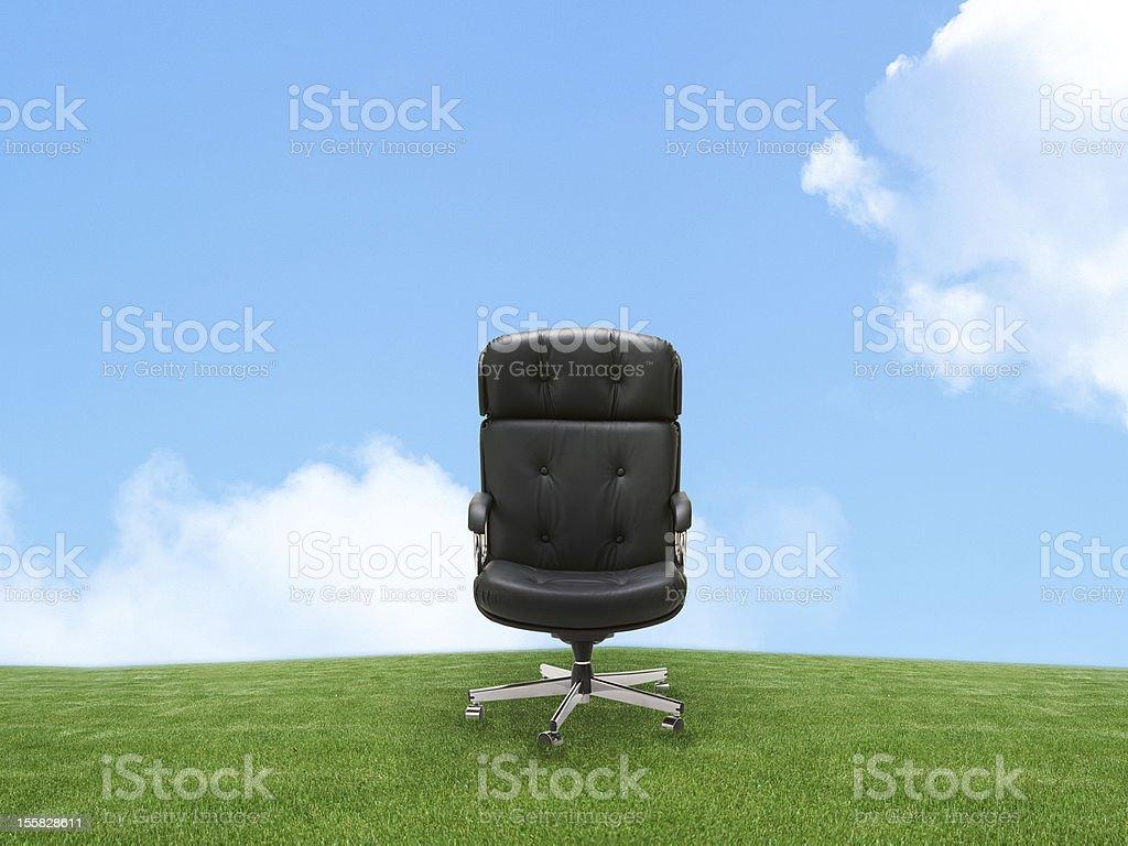 Outdoor armchair on green land stock photo