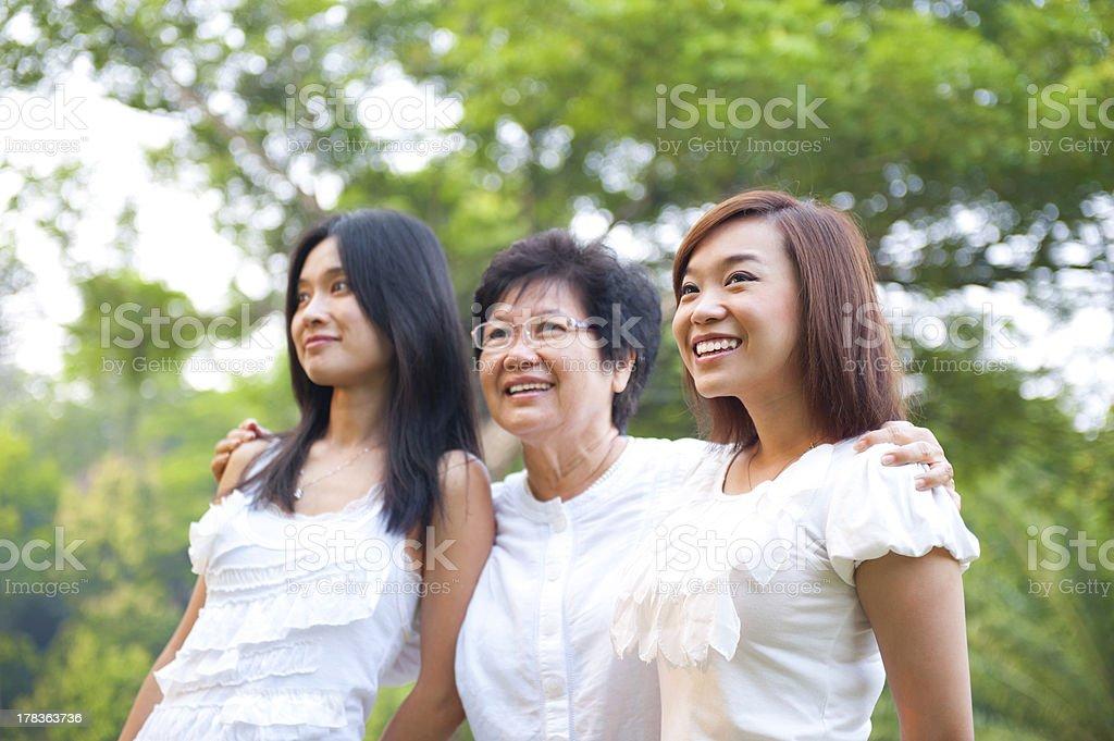 Outdoor Asian family royalty-free stock photo