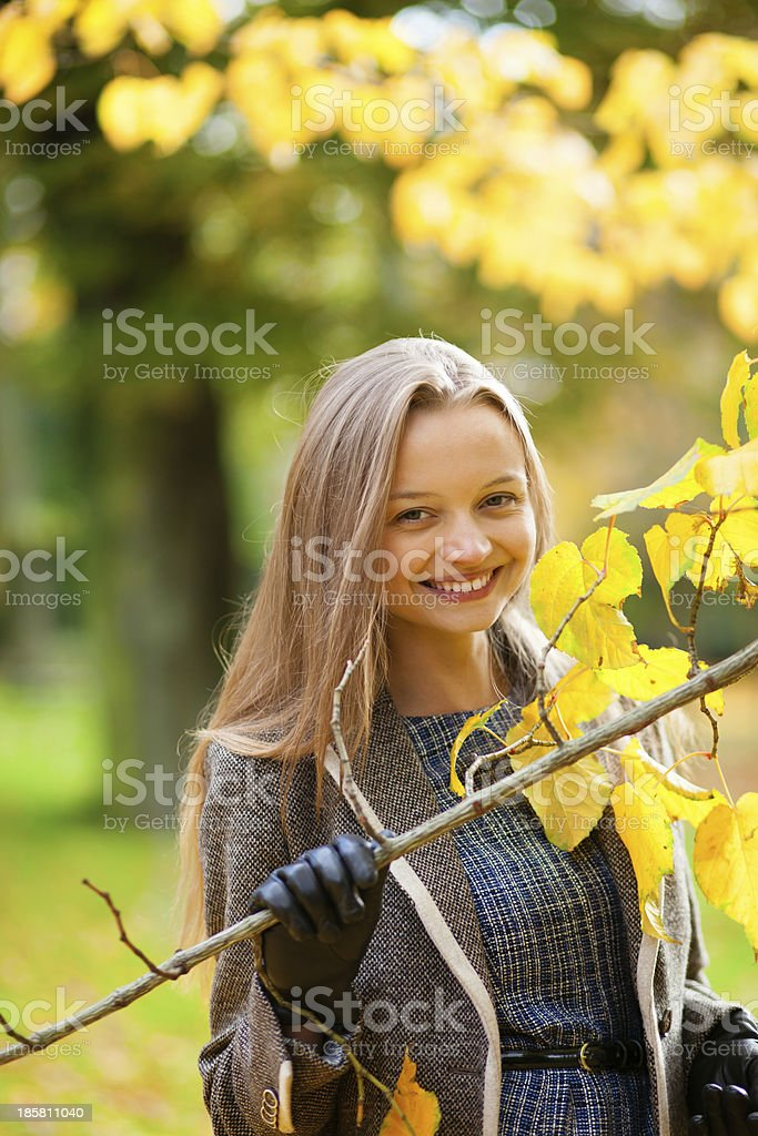 Outdoor autumn portrait of a beautiful young woman stock photo