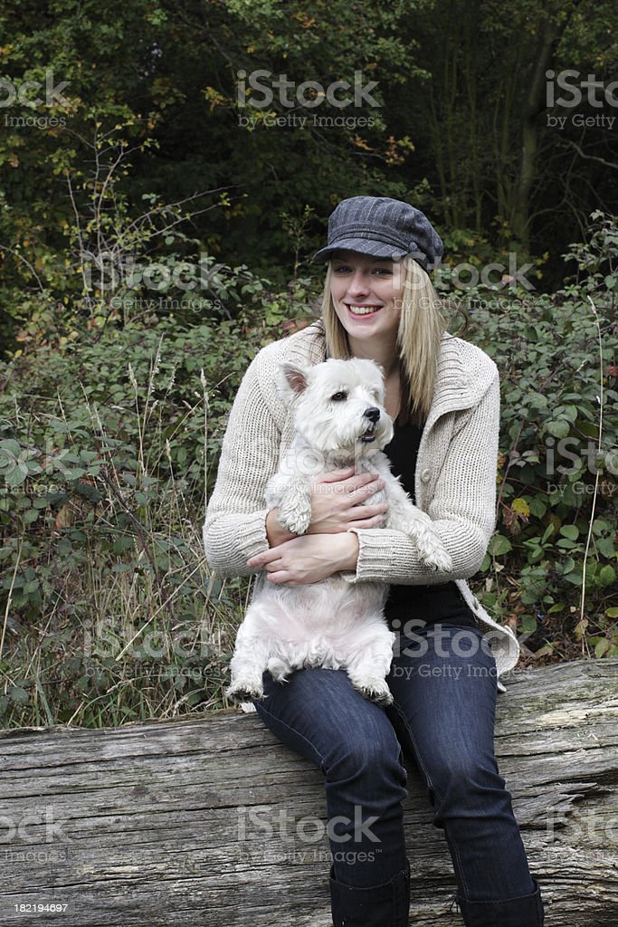 Fair haired Surrey girl with Beno the Westie stock photo