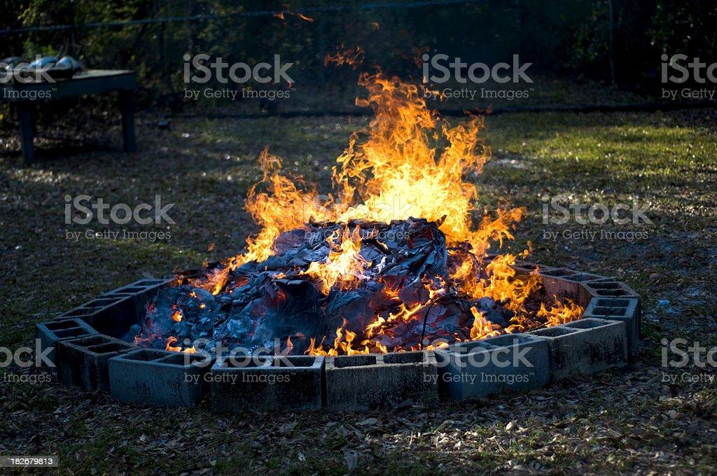 Outdoor Backyard Bonfire royalty-free stock photo