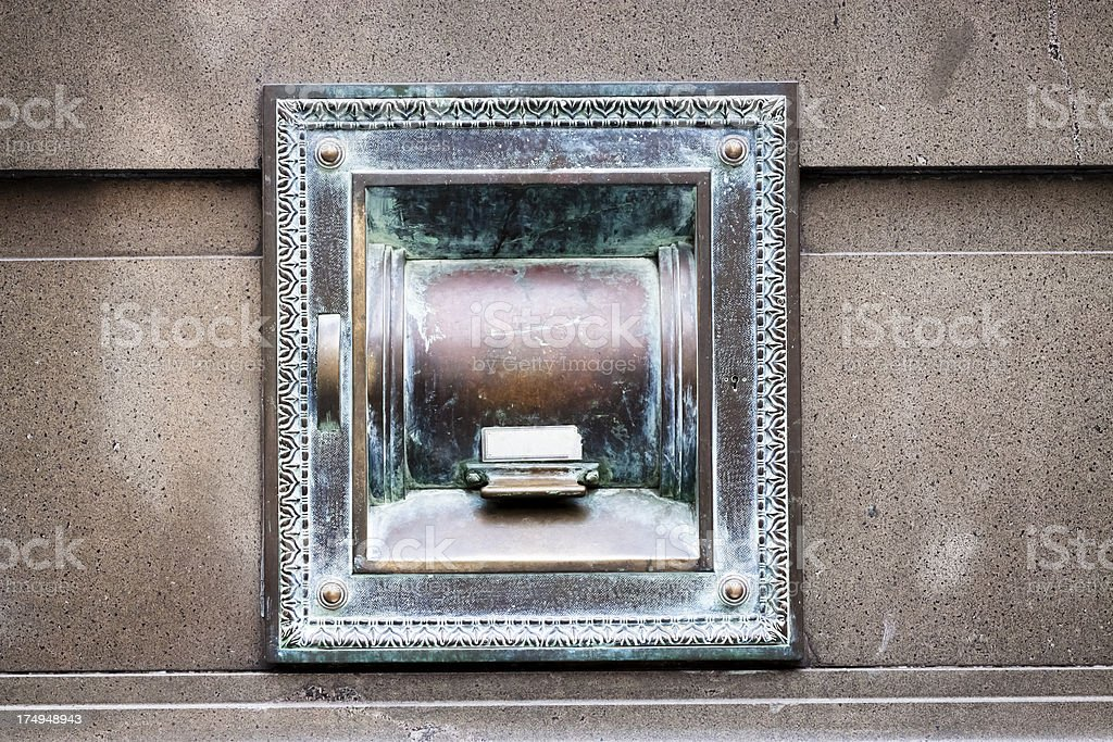 Outdoor bank deposit box on wall of bank, copy space stock photo