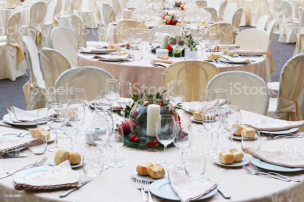 Outdoor Banquet Tables royalty-free stock photo