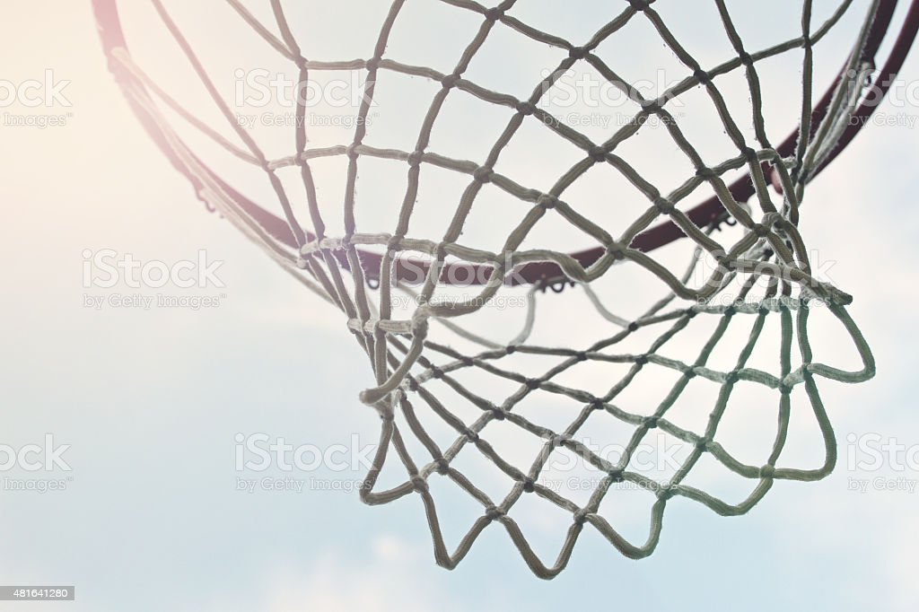 outdoor basketball hoop net stock photo