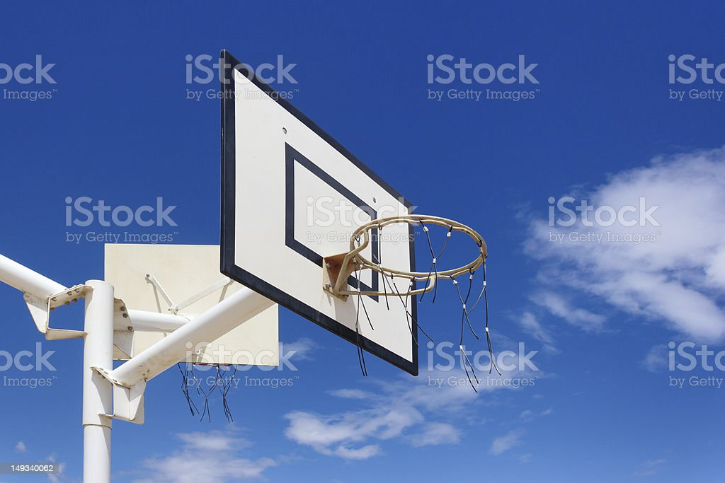 Outdoor basketball hoop stock photo