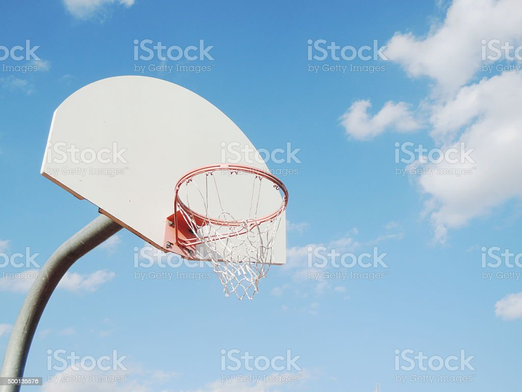 Outdoor basketball hoop stock photo