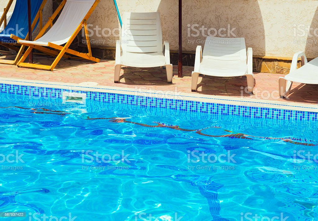Outdoor blue pool of water stock photo