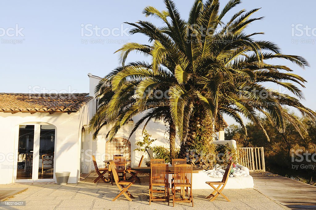 outdoor breakfast area, Camargue, France stock photo