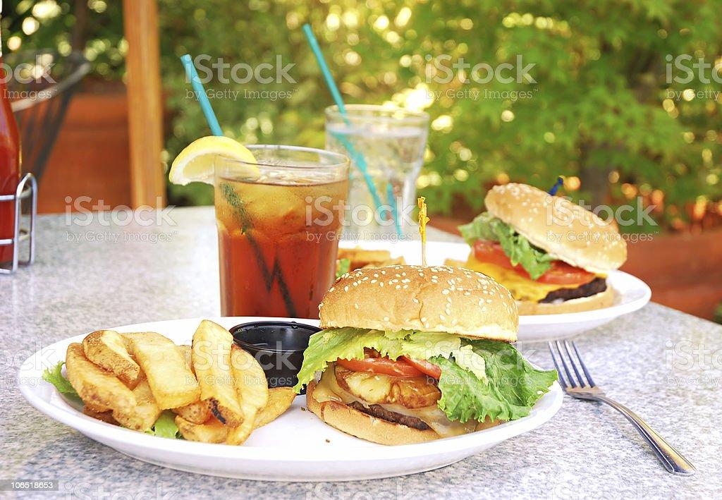 Outdoor Burgers stock photo