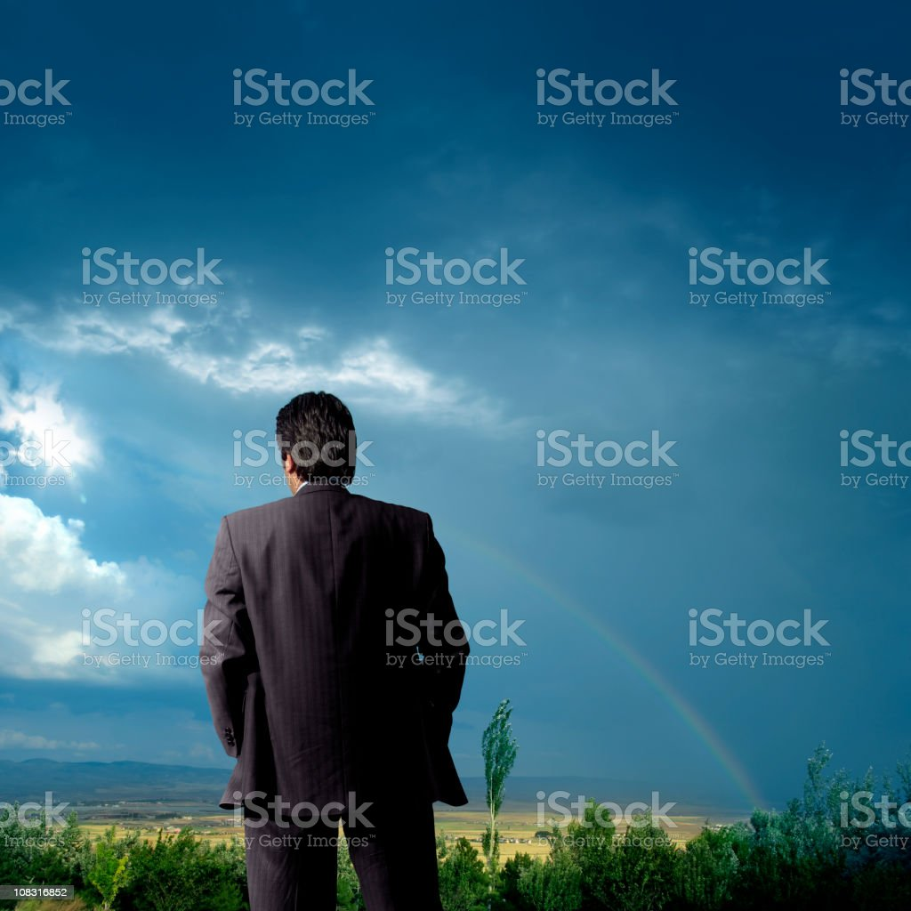 outdoor businessman thinking royalty-free stock photo