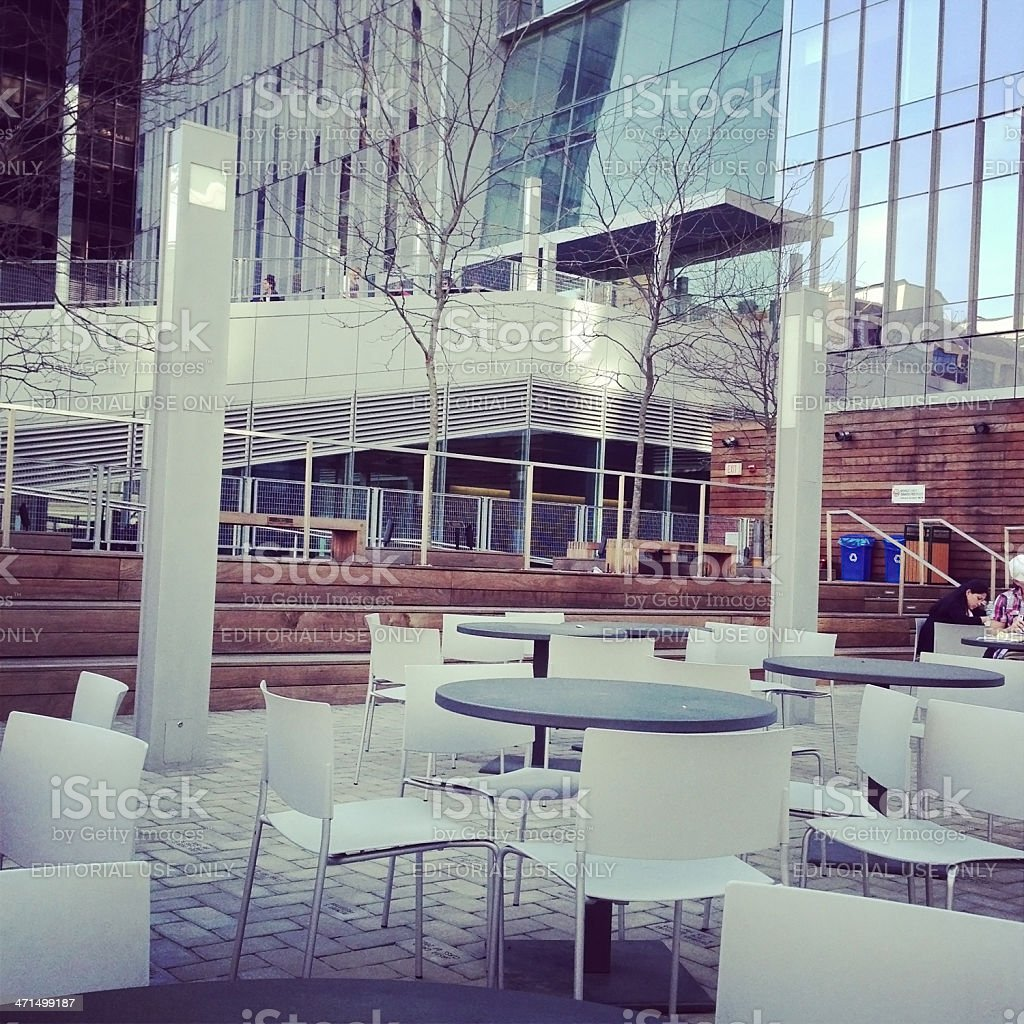 Outdoor Cafe at John Jay College in New York City royalty-free stock photo