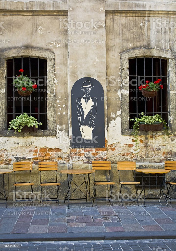 Outdoor cafe in Cracow, Poland royalty-free stock photo