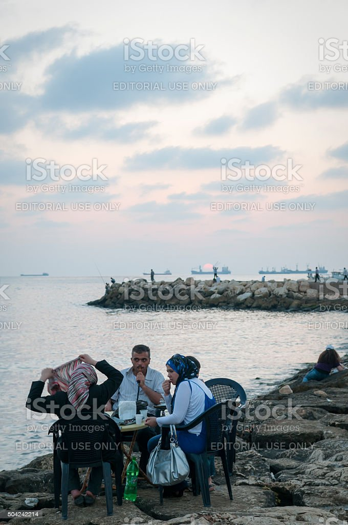 Outdoor cafe in Tartus, Syria stock photo
