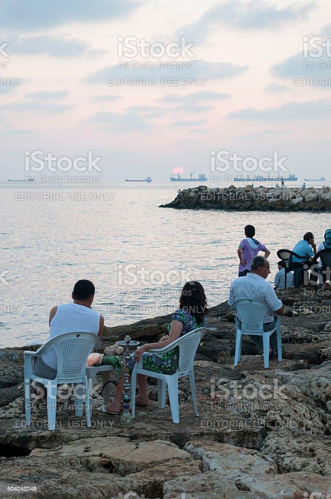 Outdoor cafe in Tartus, Syria stock photo