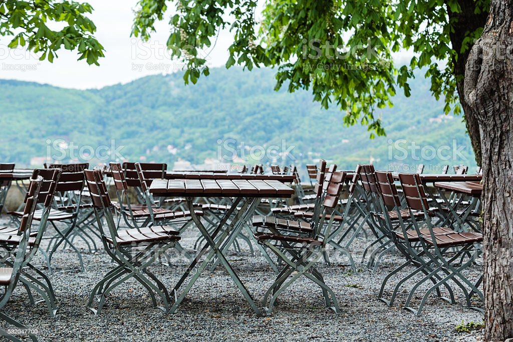 outdoor cafe in the Graz stock photo