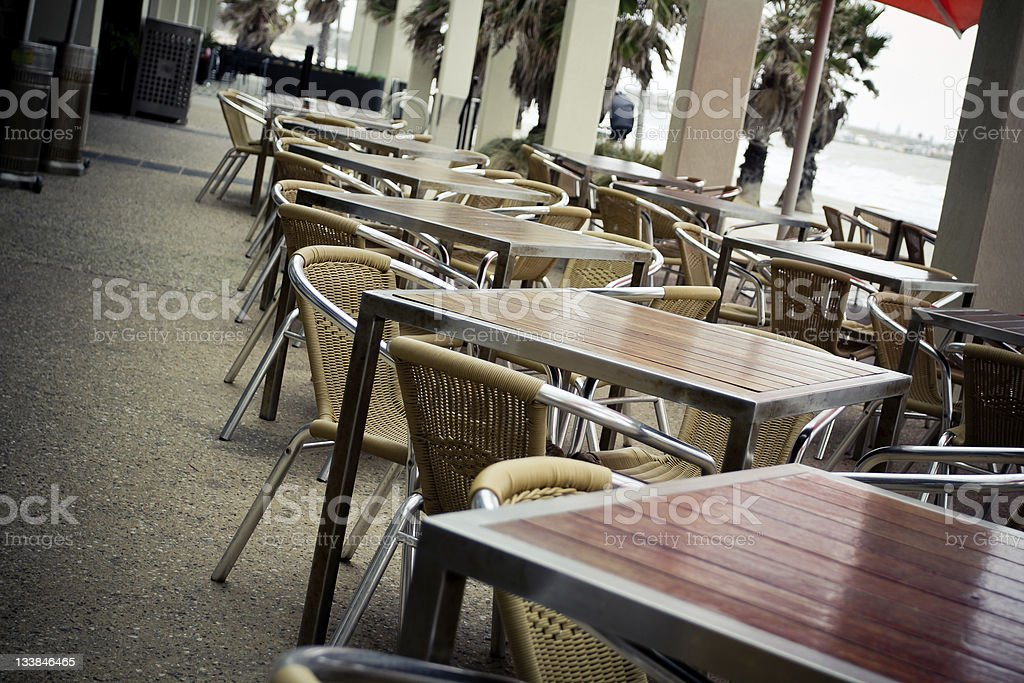 Outdoor cafe tables royalty-free stock photo