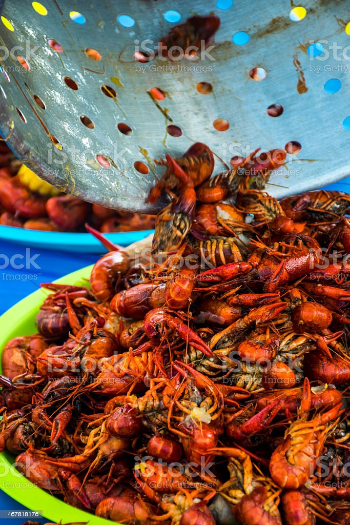 Outdoor Cajun Festival The CrawFish Bowl Spicy Seafood stock photo