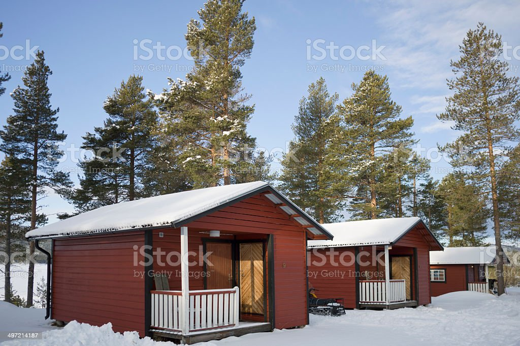 Outdoor camp with red cottages in Jamtland, Sweden stock photo
