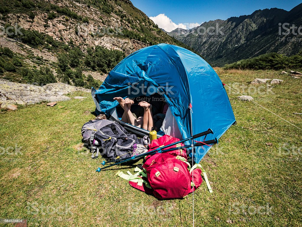 Outdoor camping in the mountains stock photo