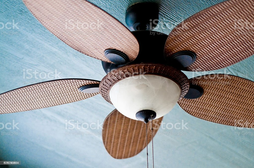 Outdoor ceiling fan of residential home stock photo
