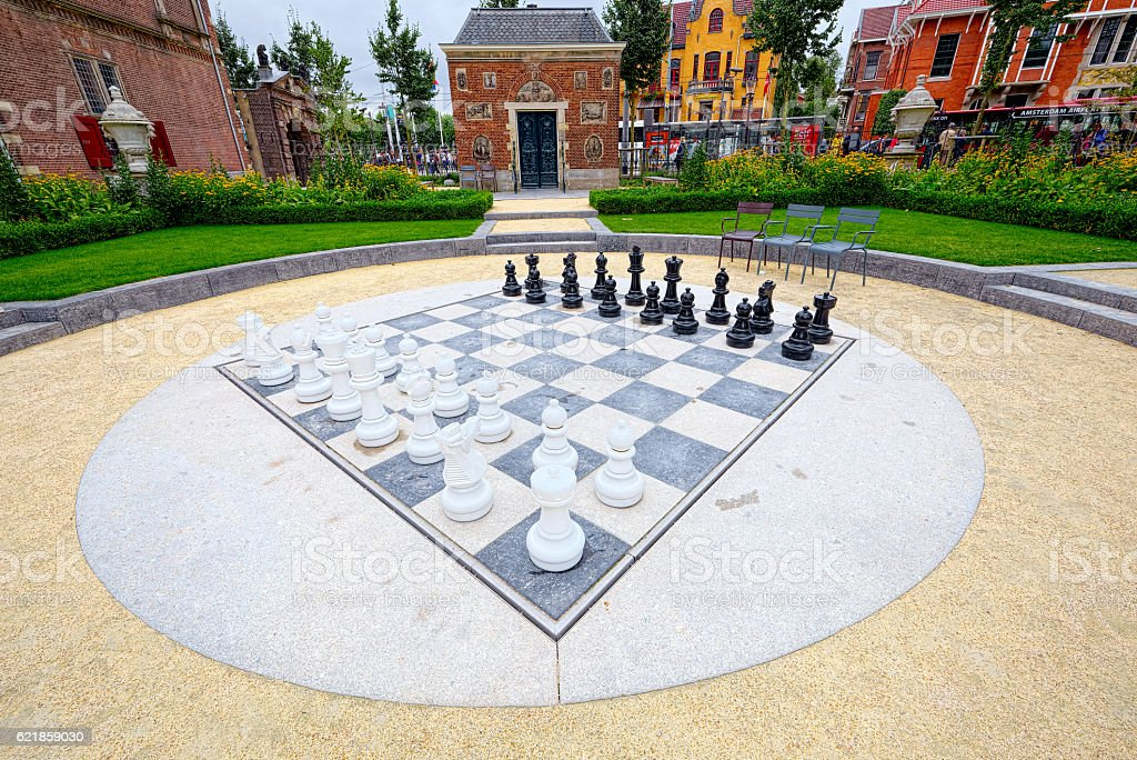 Outdoor chess board, in Amsterdam (super wide angle) stock photo