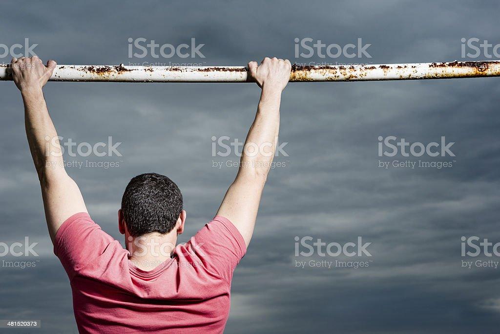 Outdoor chin-ups stock photo