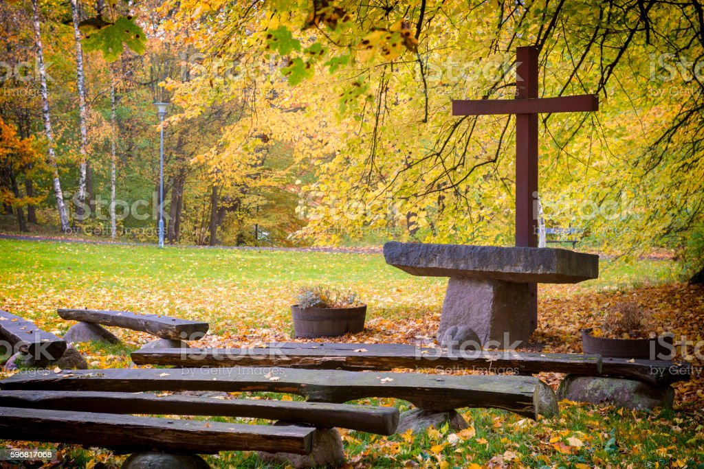 Outdoor church in the woods stock photo