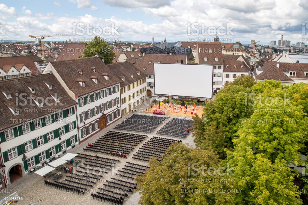 Aerial view of an empty outdoor cinema in the historic city centre