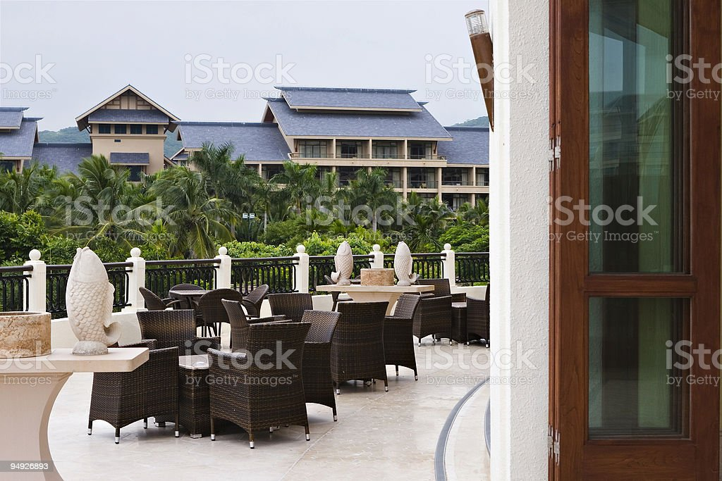 outdoor coffee bar in hotel royalty-free stock photo