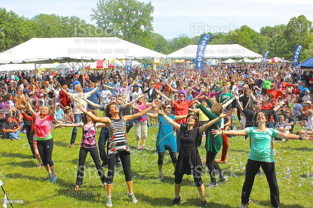 Outdoor community festival 'flash mob' dancers and audience stock photo