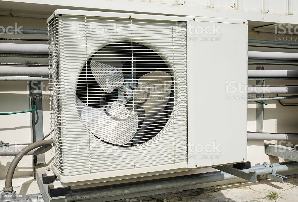 Outdoor compressor of air conditioner stock photo