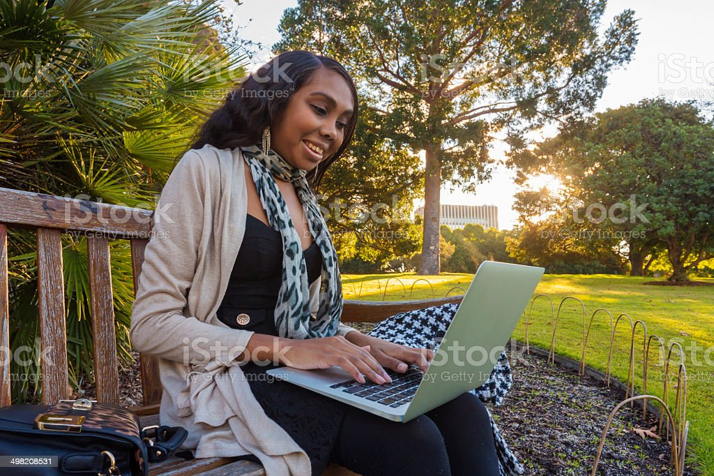 Outdoor Computer Aboriginal Woman royalty-free stock photo