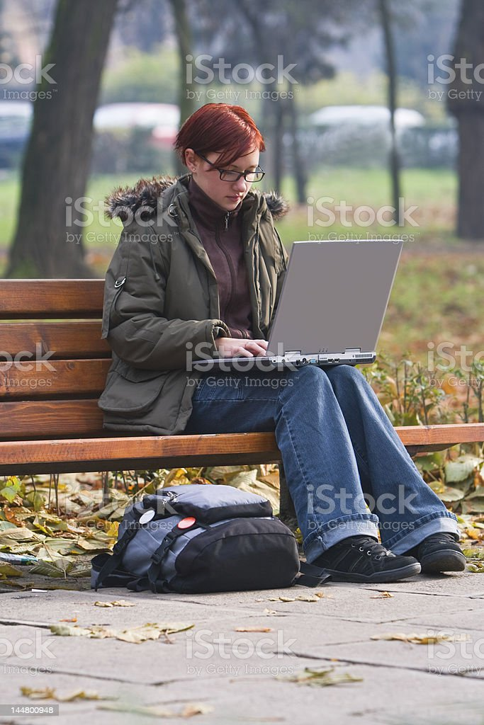 Outdoor computer work royalty-free stock photo