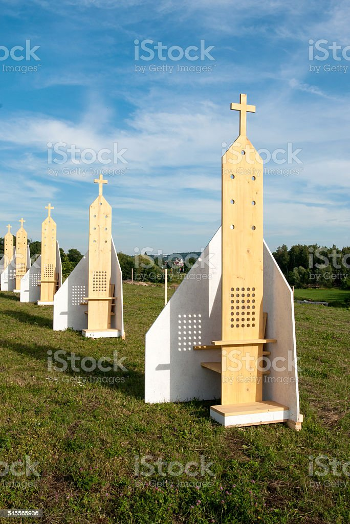 Outdoor Confessionals in Cracow, Poland stock photo