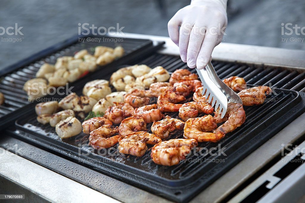 Outdoor cooking grilling - Barbecue Shrimp Skewers royalty-free stock photo