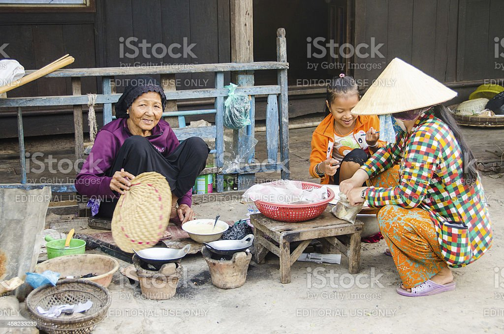 Outdoor cooking in Vietnam royalty-free stock photo