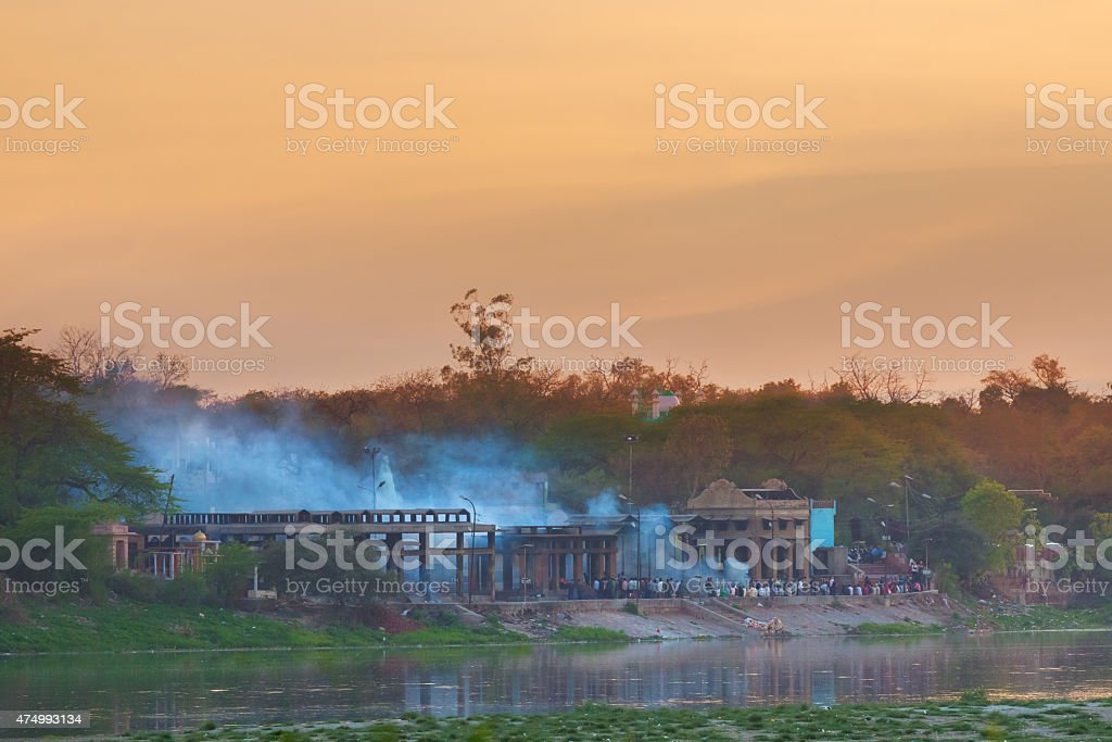 Outdoor cremation in India stock photo