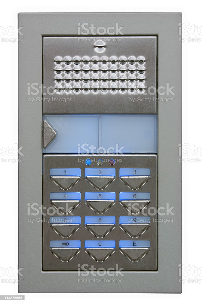 Outdoor digital door security access keypad with path stock photo