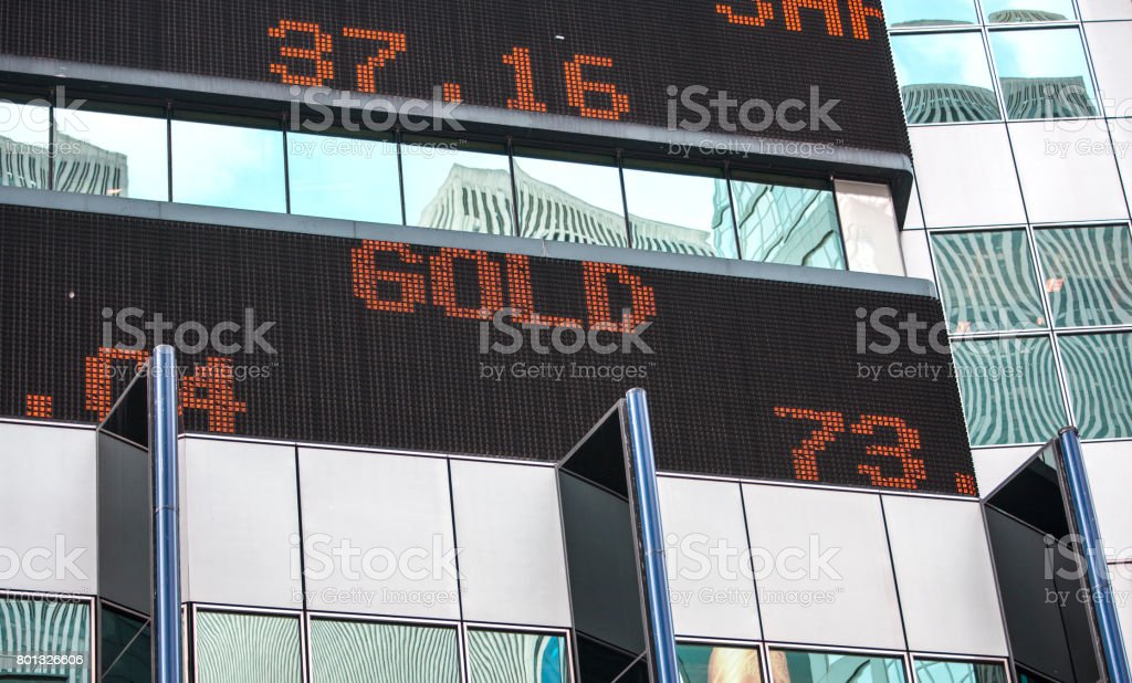 Outdoor digital Stock Exchange ticker. stock photo