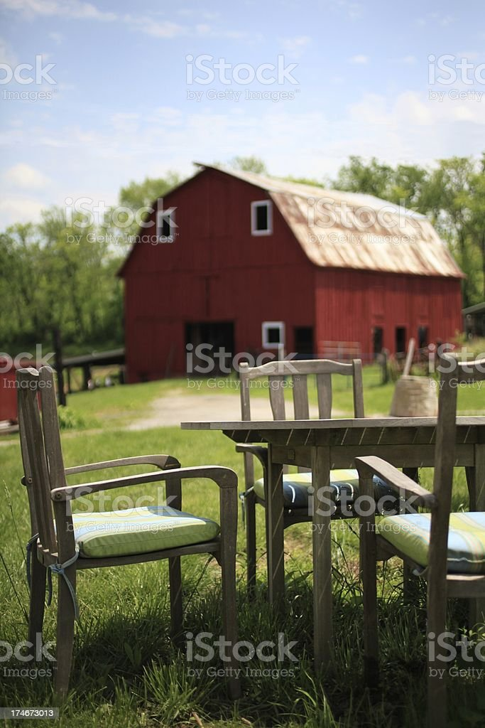 Outdoor Dinind at the Farm royalty-free stock photo