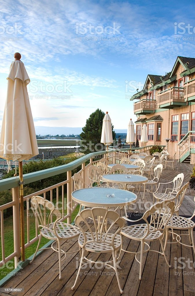 Outdoor Dining at a Resort stock photo
