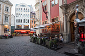 Outdoor dining at Rock Cafe in Riga, Latvia