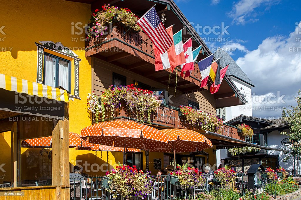 Outdoor Dining at Vail Village in Vail, Colorado stock photo