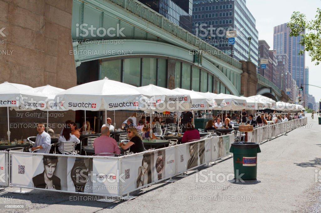 Outdoor Dining Pershing Square Plaza Manhattan stock photo
