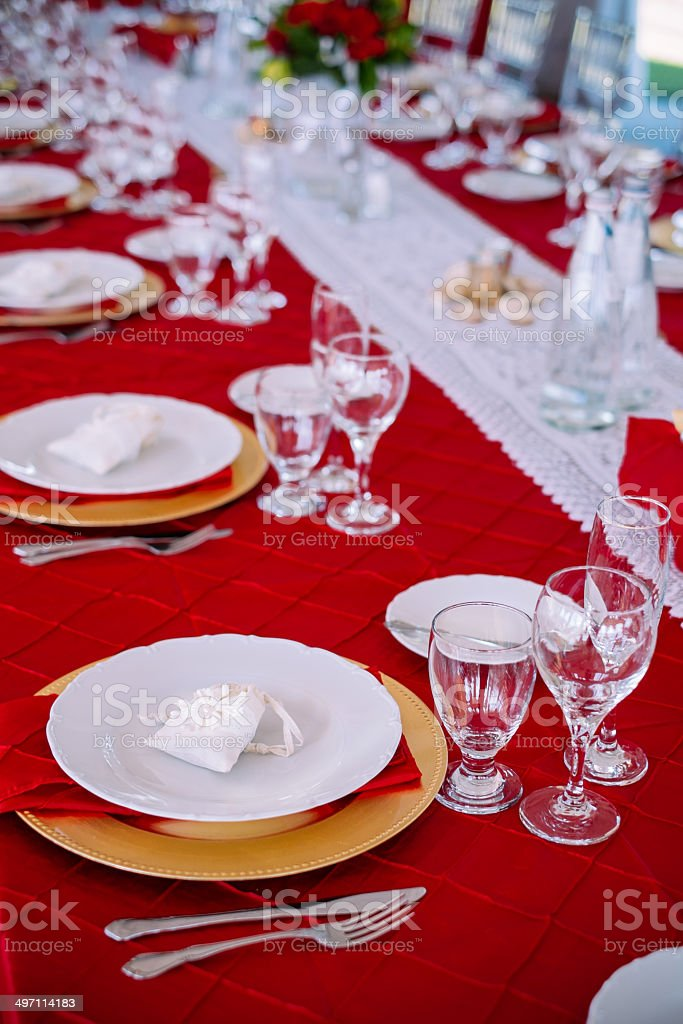 Outdoor dinner set up royalty-free stock photo