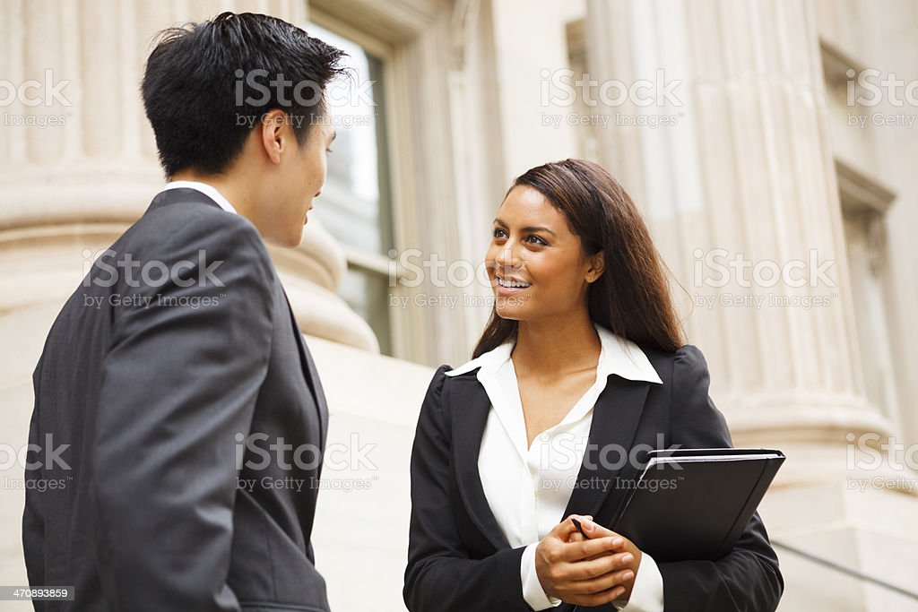 Outdoor Discussion Professionally Dressed People stock photo